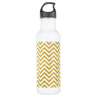 Elegant Gold Foil Zigzag Stripes Chevron Pattern 710 Ml Water Bottle