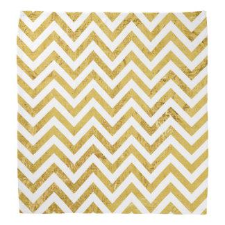 Elegant Gold Foil Zigzag Stripes Chevron Pattern Bandanas