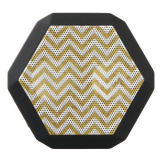 Elegant Gold Foil Zigzag Stripes Chevron Pattern Black Bluetooth Speaker