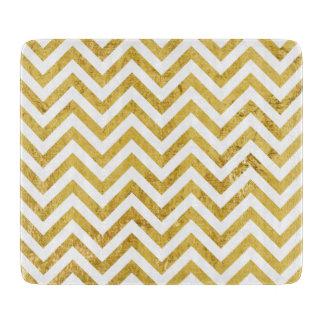 Elegant Gold Foil Zigzag Stripes Chevron Pattern Boards