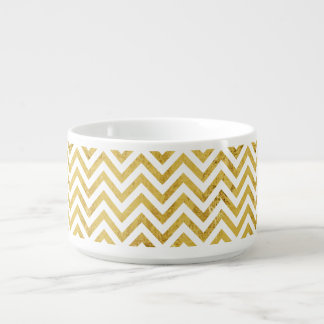 Elegant Gold Foil Zigzag Stripes Chevron Pattern Bowl
