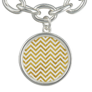 Elegant Gold Foil Zigzag Stripes Chevron Pattern Bracelet