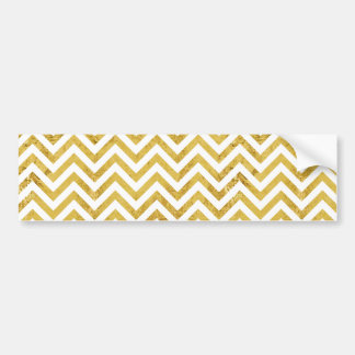 Elegant Gold Foil Zigzag Stripes Chevron Pattern Bumper Sticker