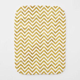 Elegant Gold Foil Zigzag Stripes Chevron Pattern Burp Cloth