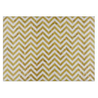 Elegant Gold Foil Zigzag Stripes Chevron Pattern Cutting Board