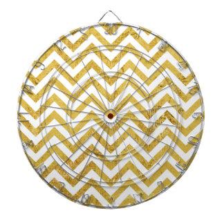 Elegant Gold Foil Zigzag Stripes Chevron Pattern Dartboard