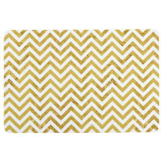 Elegant Gold Foil Zigzag Stripes Chevron Pattern Floor Mat