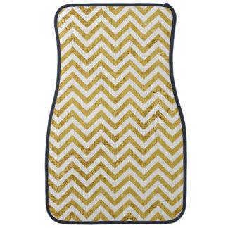 Elegant Gold Foil Zigzag Stripes Chevron Pattern Floor Mat