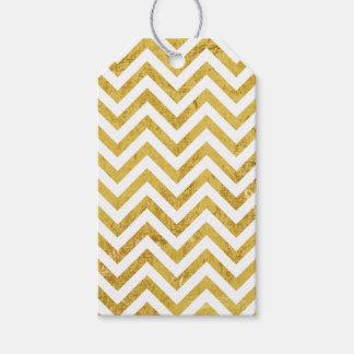 Elegant Gold Foil Zigzag Stripes Chevron Pattern Gift Tags
