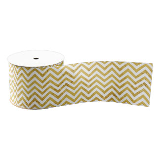 Elegant Gold Foil Zigzag Stripes Chevron Pattern Grosgrain Ribbon
