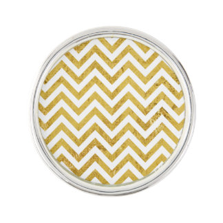 Elegant Gold Foil Zigzag Stripes Chevron Pattern Lapel Pin