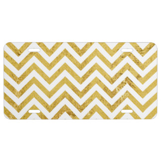 Elegant Gold Foil Zigzag Stripes Chevron Pattern License Plate