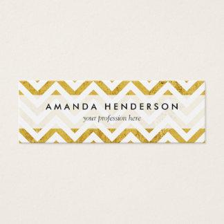 Elegant Gold Foil Zigzag Stripes Chevron Pattern Mini Business Card