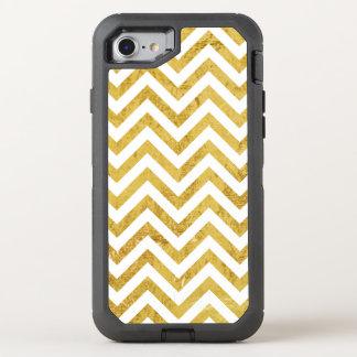 Elegant Gold Foil Zigzag Stripes Chevron Pattern OtterBox Defender iPhone 8/7 Case