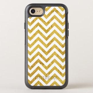 Elegant Gold Foil Zigzag Stripes Chevron Pattern OtterBox Symmetry iPhone 7 Case