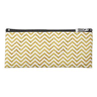 Elegant Gold Foil Zigzag Stripes Chevron Pattern Pencil Case