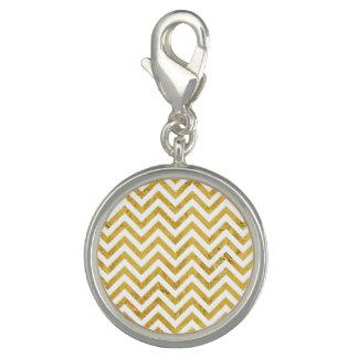 Elegant Gold Foil Zigzag Stripes Chevron Pattern Photo Charm