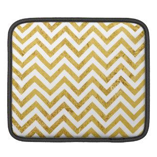 Elegant Gold Foil Zigzag Stripes Chevron Pattern Sleeves For iPads