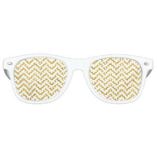 Elegant Gold Foil Zigzag Stripes Chevron Pattern Sunglasses