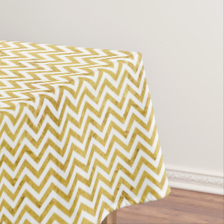 Elegant Gold Foil Zigzag Stripes Chevron Pattern Tablecloth