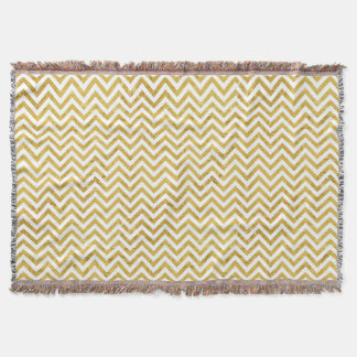 Elegant Gold Foil Zigzag Stripes Chevron Pattern Throw
