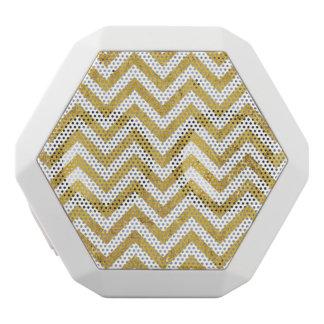 Elegant Gold Foil Zigzag Stripes Chevron Pattern White Bluetooth Speaker