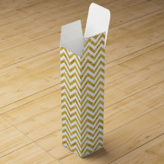 Elegant Gold Foil Zigzag Stripes Chevron Pattern Wine Box