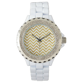 Elegant Gold Foil Zigzag Stripes Chevron Pattern Wristwatch