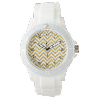 Elegant Gold Foil Zigzag Stripes Chevron Pattern Wristwatches