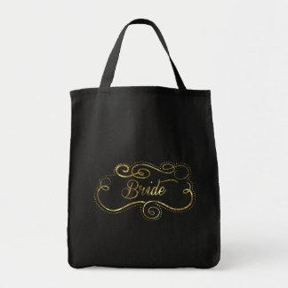 Elegant Gold Frame Bride Text Design Tote Bag