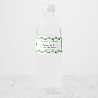 Elegant Gold Frame With Green Leaves DIY BG Water Bottle Label