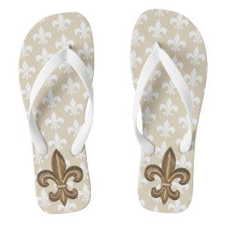 Elegant Gold French Fleur De Lis Crest Flip Flops