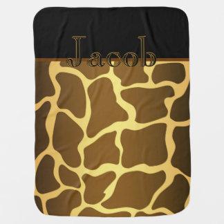 Elegant Gold Giraffe Baby Boy Receiving Blanket