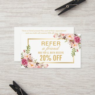 Elegant Gold Girly Floral Beauty Salon Referral cards- Get more clients to your new esthetics business