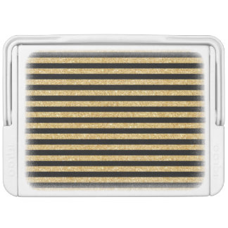 Elegant Gold Glitter and Black Stripe Pattern
