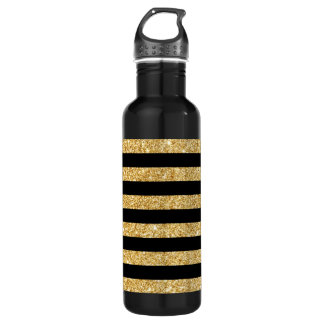 Elegant Gold Glitter and Black Stripe Pattern 710 Ml Water Bottle