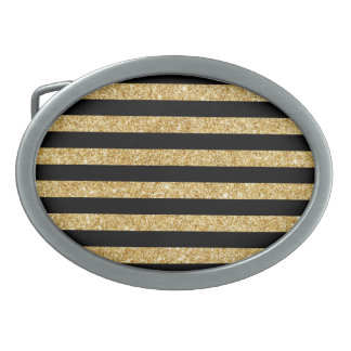 Elegant Gold Glitter and Black Stripe Pattern Belt Buckle