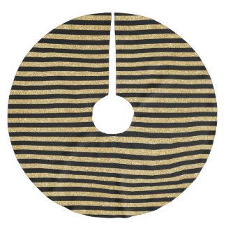 Elegant Gold Glitter and Black Stripe Pattern Brushed Polyester Tree Skirt