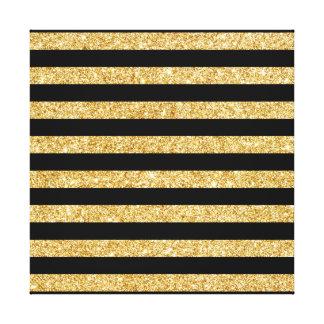 Elegant Gold Glitter and Black Stripe Pattern Canvas Print