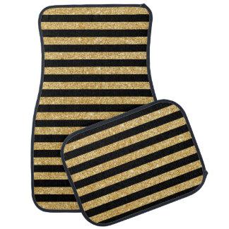 Elegant Gold Glitter and Black Stripe Pattern Car Carpet