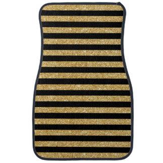 Elegant Gold Glitter and Black Stripe Pattern Car Liners