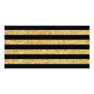 Elegant Gold Glitter and Black Stripe Pattern Card