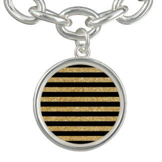 Elegant Gold Glitter and Black Stripe Pattern Charm Bracelets