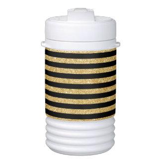 Elegant Gold Glitter and Black Stripe Pattern Cooler