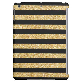 Elegant Gold Glitter and Black Stripe Pattern Cover For iPad Air