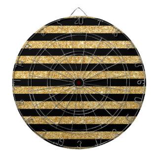 Elegant Gold Glitter and Black Stripe Pattern Dartboard With Darts