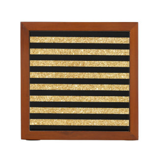Elegant Gold Glitter and Black Stripe Pattern Desk Organizer