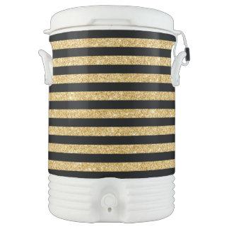 Elegant Gold Glitter and Black Stripe Pattern Drinks Cooler