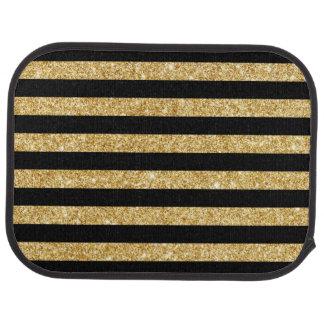 Elegant Gold Glitter and Black Stripe Pattern Floor Mat