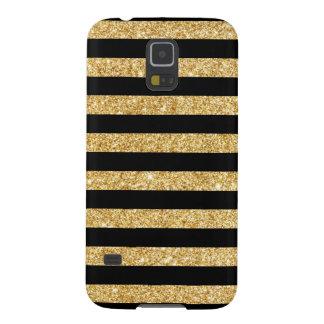 Elegant Gold Glitter and Black Stripe Pattern Galaxy S5 Cover